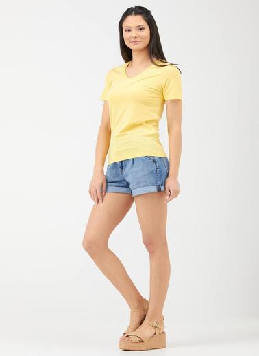 Sementa V Yaka Kadın Basic T.Shirt - Sarı Sarı